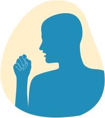 Илюстрация на мъж, който кашля в ръката си