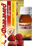 Флавамед® форте 30 mg/5 ml за влажна кашлица с опаковка и мерителна лъжичка